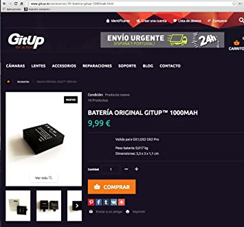 Cargador doble + 2 baterias 1000Mha 100% original GITUP. Valido para GITUP git1 git2 git2p. Incluye cable USB: Amazon.es: Electrónica
