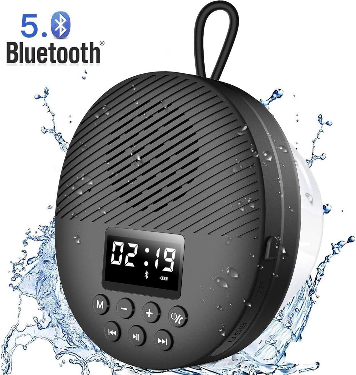 AGPTEK Altavoz de Ducha Impermeable Bluetooth Altavoz Portátil Radio de Ducha Bluetooth 5.0 Pantalla LED TF Tarjeta de Apoyo Micrófono Integrado para Baño Ducha Playa