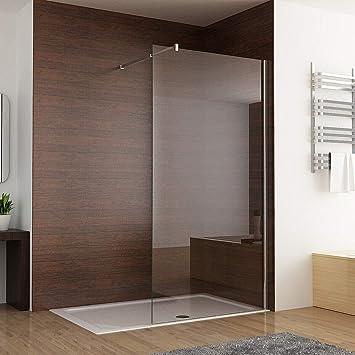 MIQU - Mampara de ducha (1000 mm, 8 mm, fácil de limpiar, nano cristal, con barra de apoyo ajustable de 1950 mm de altura): Amazon.es: Bricolaje y herramientas