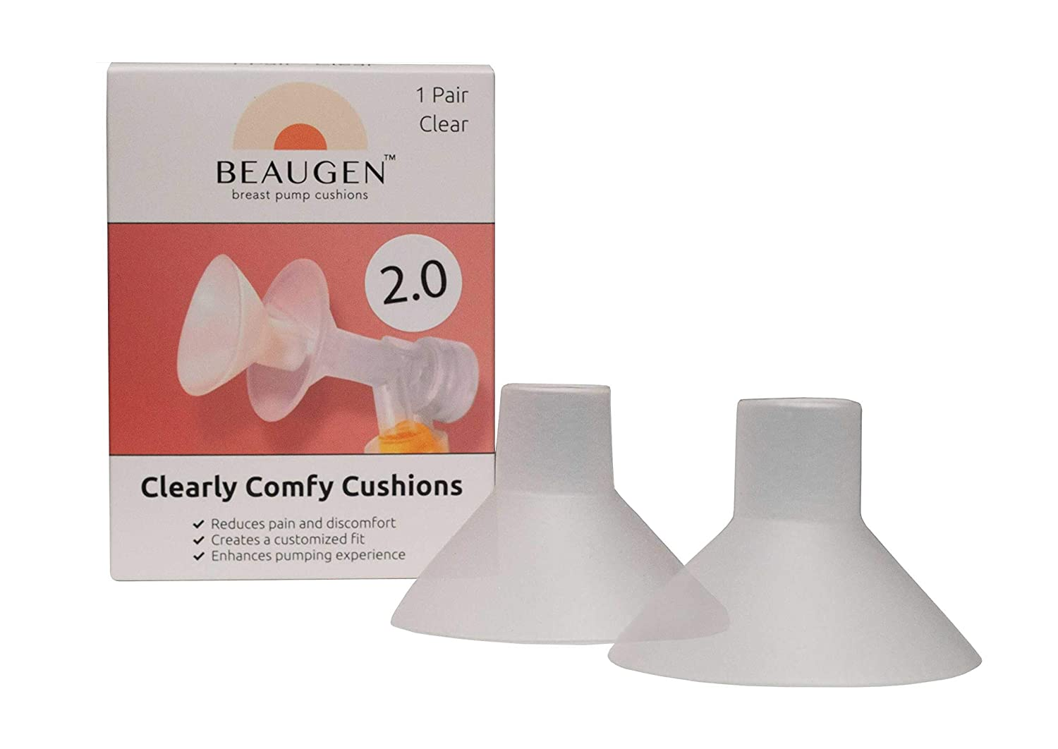 New BeauGen Clearly Comfy Breast Pump Cushion 2.0 – REIMAGINED Soft, Stretchy, Clear, and Comfortable Flange Inserts for Improved Comfort and Fit – BPA Free, Food Safe Plastic (1 Pair)
