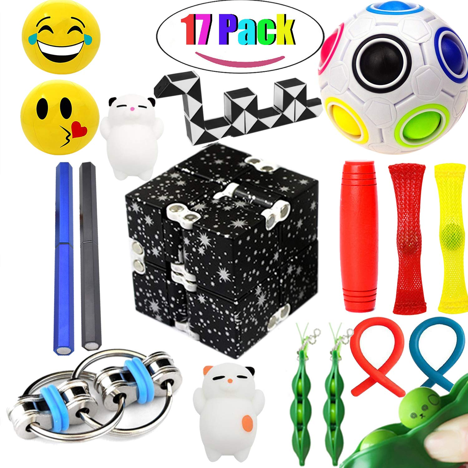 The Ultimate Sensory Fidget Toys Kit for Kids Prime 20 Packs Fidget Cube/Infinity Cube/Twisted Toy/Squishy Ball/Squeeze Bean/Fidget Pen/Rainbow Magic Balls ADD ADHD Stress Relax. by Sumine