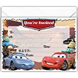 Pack Of 20 Glossy Birthday Party Invitations Cards Inspired By CARS With X Envelopes For Boys And