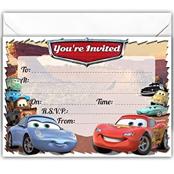 Rainbow Sensation CARS 3 Party Invitations Invites 16 Per Pack Birthday A5 Size Envelopes Holiday Gifts