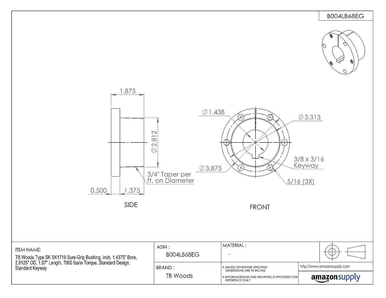 7000 lbs//in Torque Standard Keyway 1 Bore Standard Design TB Woods Type SK SK1 Sure-Grip Bushing 1.87 Length 2.8125 OD Inch