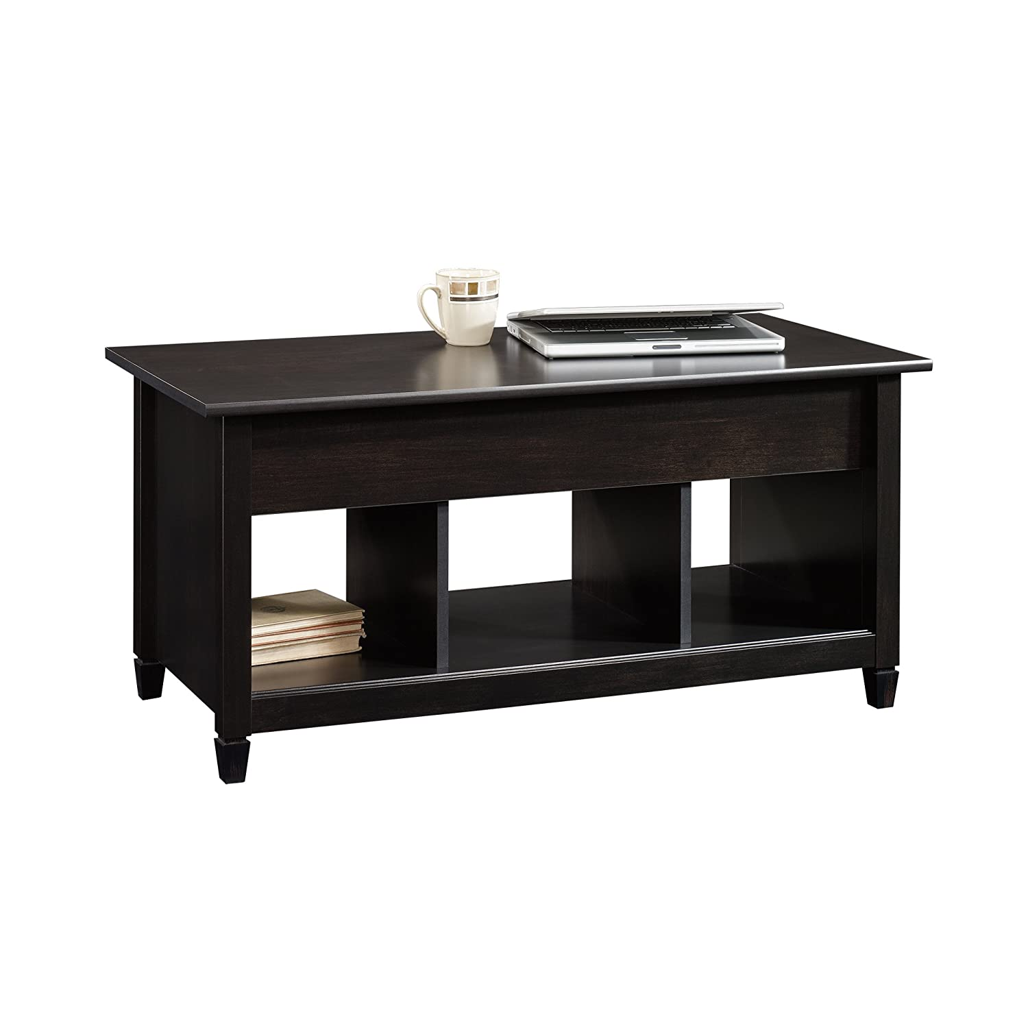 Black and wood coffee table - Amazon Com Sauder Edge Water Lift Top Coffee Table Estate Black Finish Kitchen Dining