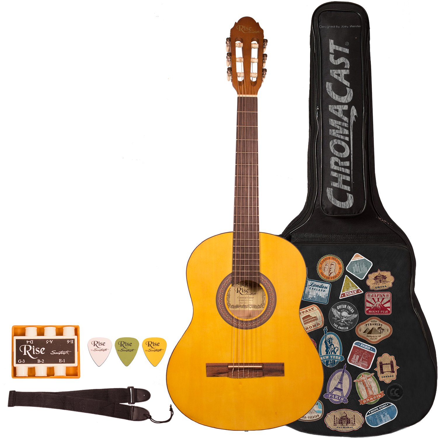 Rise by Sawtooth ST-RISE-CL-3/4-N-KIT-1 Beginner'S Classical Guitar , 3/4 Size, Satin Gold Stain