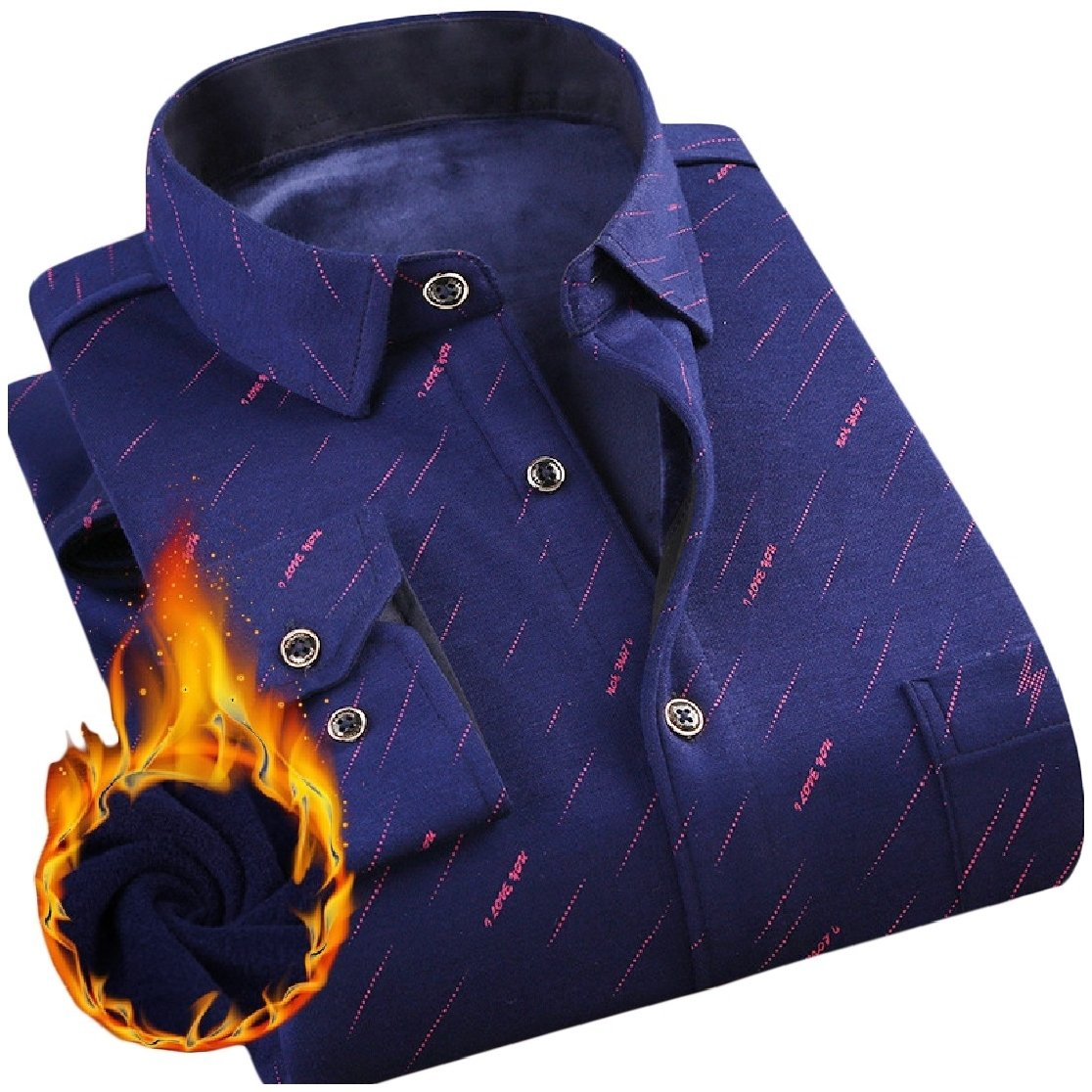 YUNY Mens Lapel Warm Long Sleeve Buttons Flannel Printing Thicken Dress Shirt AS6 M
