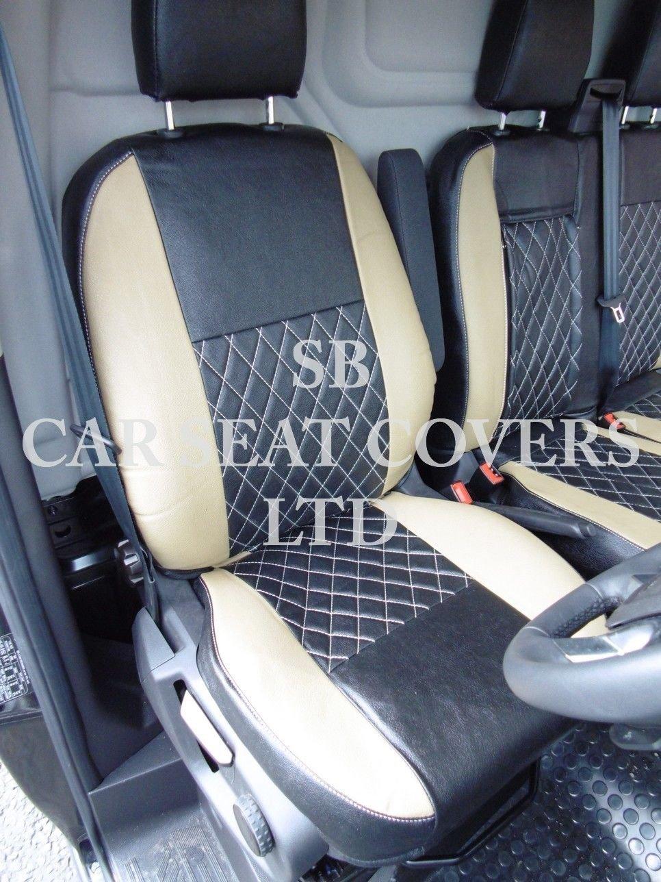 FORD TRANSIT CUSTOM 2016 VAN SEAT COVERS MID GREY LEATHERETTE BESPOKE 142