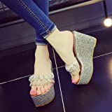 BSGSH Womens Wedge Platform Slides Sandals Open Toe Rhinestone Summer Slippers Shoes