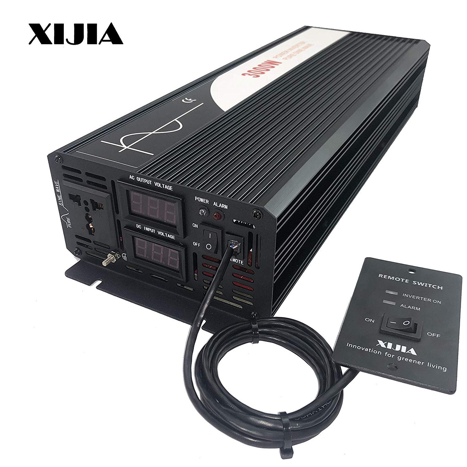 XIJIA 3000W (Peak 6000W) Pure Sine Wave Power Inverter DC 12V 24V 48V to AC 120V 60HZ Solar Converter for Home Use car Remote Control (DC 12V to AC 120V)