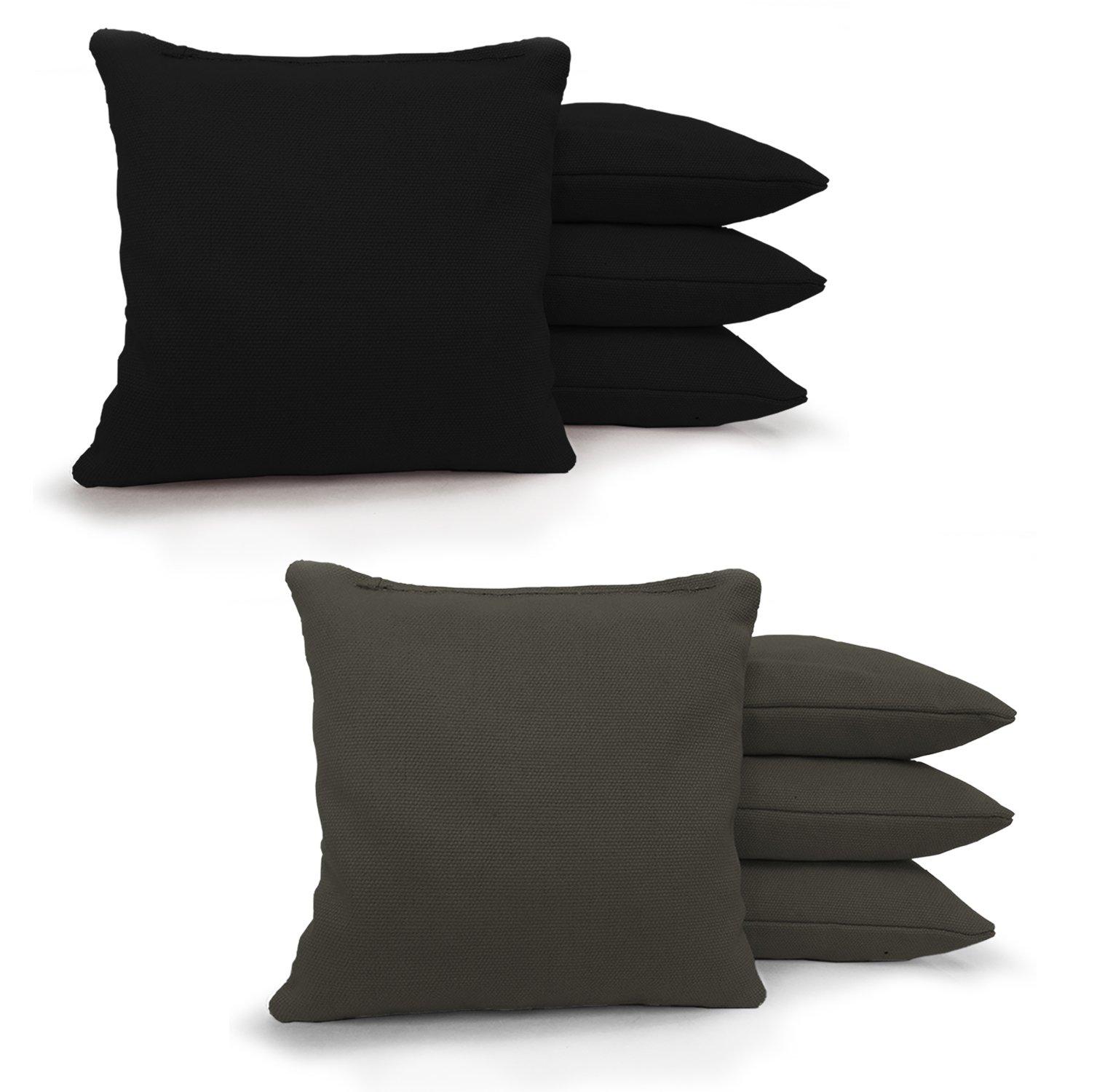 Johnson Enterprises, LLC 8 Standard Corn Filled Regulation Duck Cloth Cornhole Bags 17 Colors Available (You Pick)!! (Black/Charcoal)
