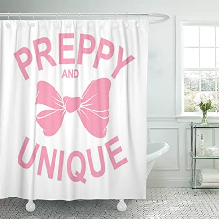 Emvency Shower Curtain Waterproof Pink Bow Preppy Graphic For Pretty Awesome Beautiful Chic Cool Glam Glamorous