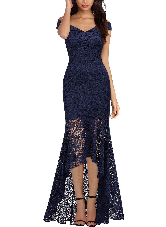 f39a31291d06 Miusol Women's Vintage Off Shoulder Floral Lace Evening Cocktail Maxi Dress