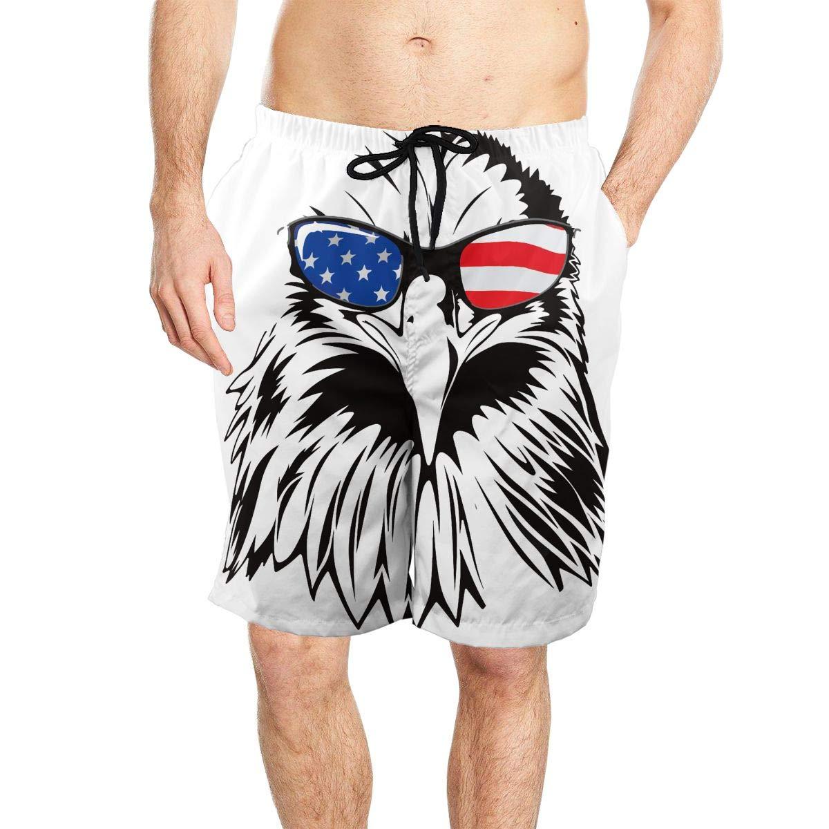 Eagle with American Glass Mens Beach Shorts Board Summer Swim Trunks