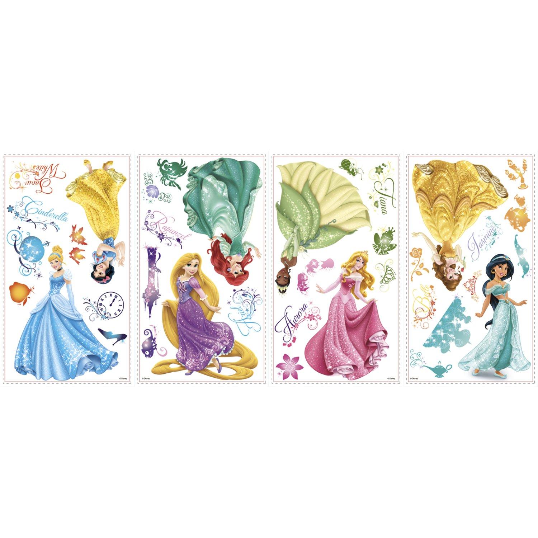 Multicolore Joy Toy 21990 Autocollants muraux Disney Princesses avec /éclat 4 Feuillage avec 37 /él/éments Plastique 50x50x1 cm