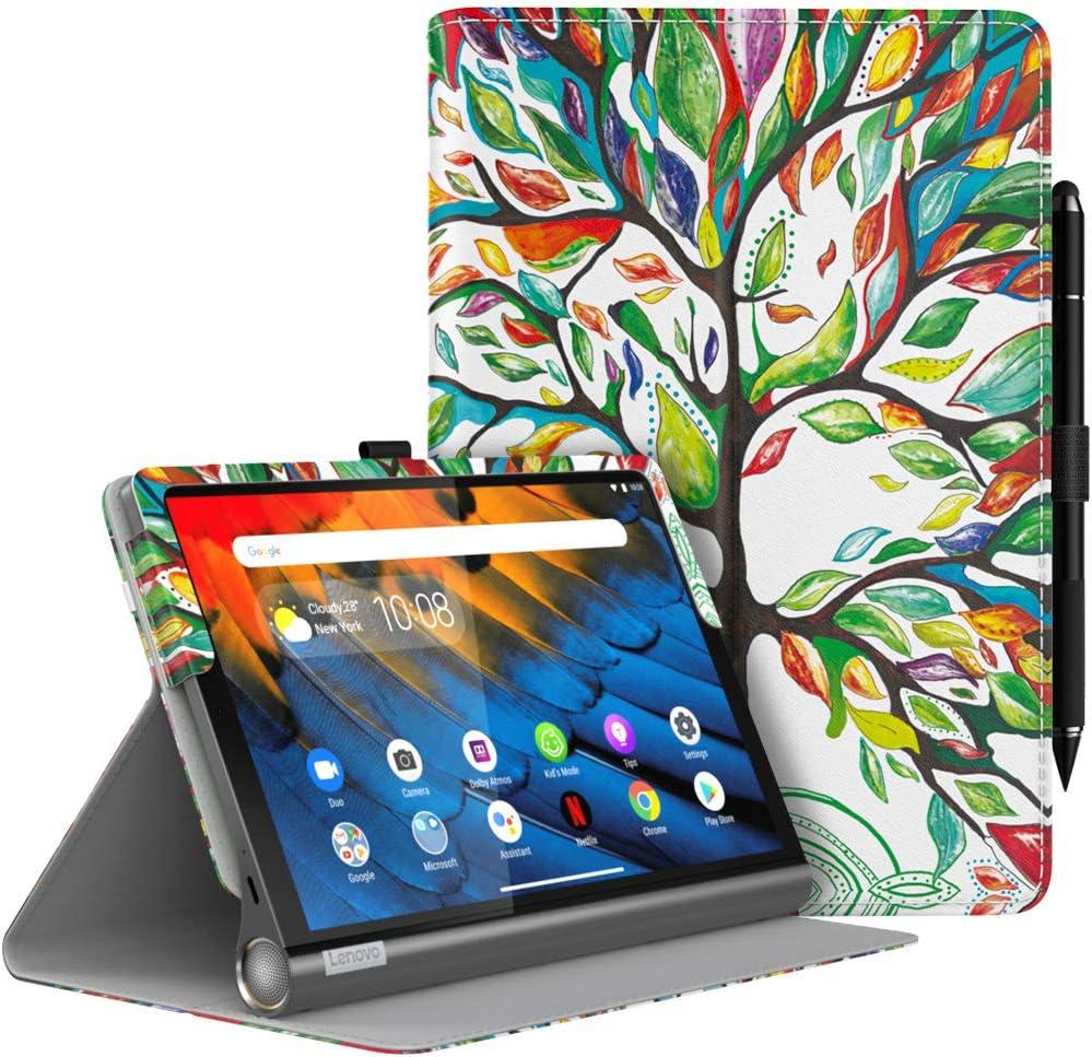 MoKo Case Fit Lenovo Yoga Smart Tab 10.1 (YT-X705F), Ultra Compact Protection Premium Slim Folding Stand Cover Case for Lenovo Yoga Smart Tab 10.1 (YT-X705F) Tablet - Lucky Tree