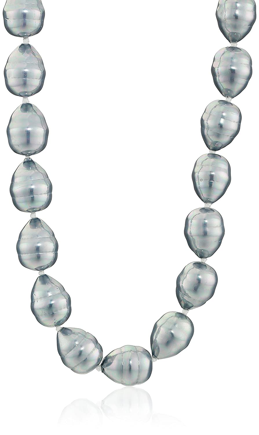 Sterling Silver 12mm Simulated Shell Pearl Baroque Necklace, 16 18 Amazon Collection GH09-73NBLACK