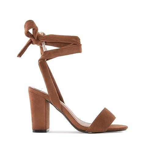 dc02ee6c6b Andres Machado - Sandalias de vestir de tela para mujer marrón marrón