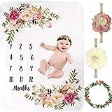 "4 PCS Baby Monthly Milestone Blanket, SPOKKI 51""x40"" Premium Fleece Floral Memory Blankets kit for Newborn Girls Boys Photogr"