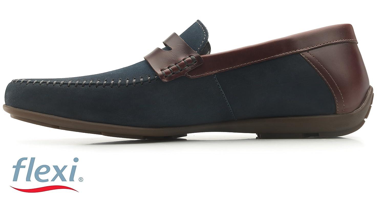 Flexi Shoes Mocasines de Piel Para Hombre Negro Negro 40 EU, Color Azul, Talla 42.5: Amazon.es: Zapatos y complementos