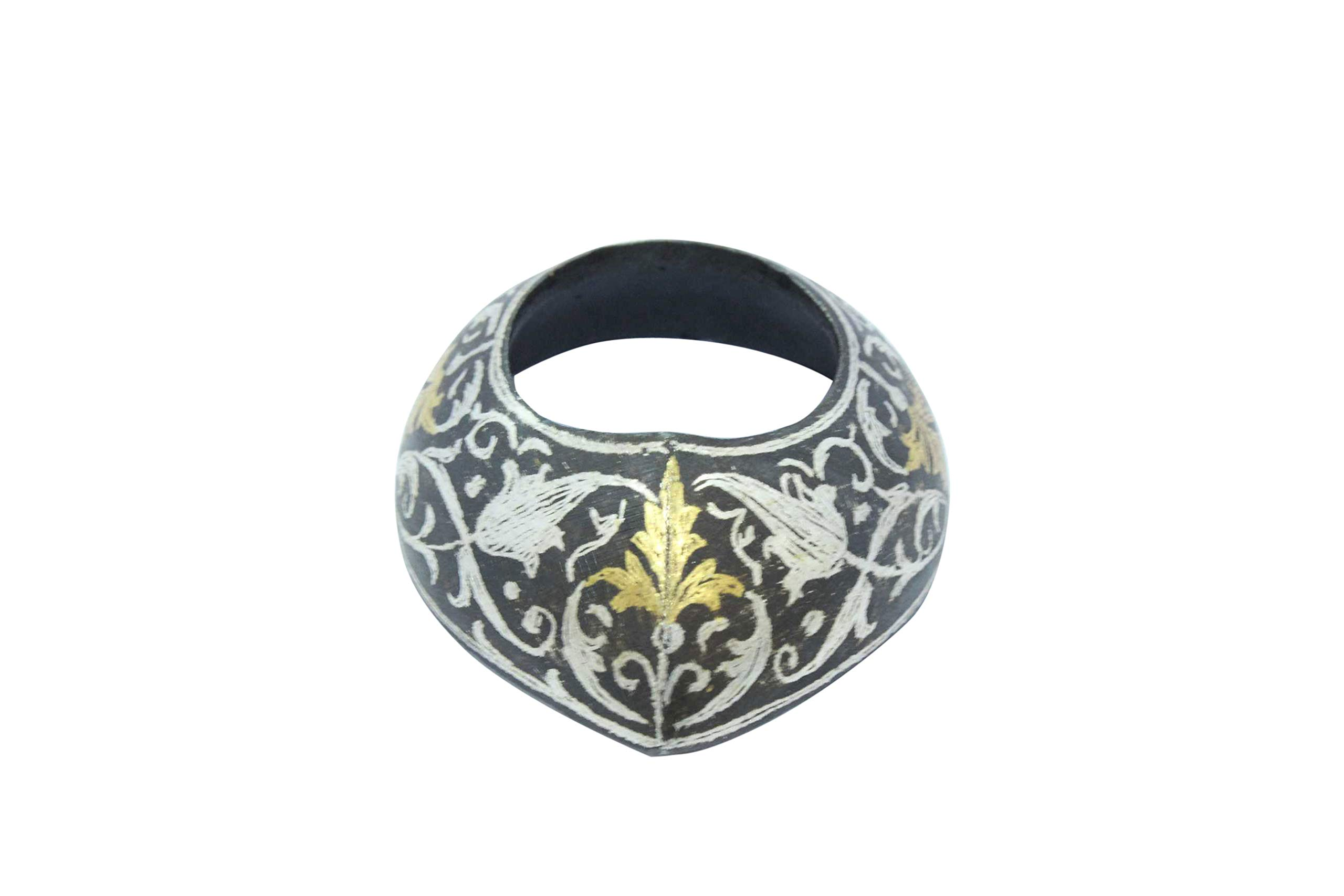 PH Artistic Steel Silver Gold Wire Work Thumb Archery Ring Bow Shooting Handcrafted Size 12