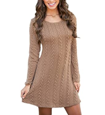 956144f47f2 Mansy Womens Knitted Crewneck Sweater Dress at Amazon Women s ...