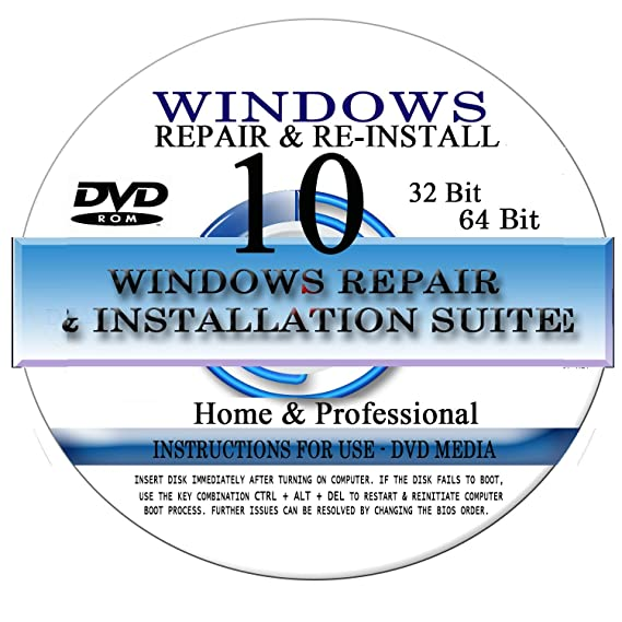 Essential Outlet - Windows 10 - 32/64 Bit DVD SP1, Supports Home -  Professional Edition  Recover, Repair, Restore or Re-install Windows to  Factory