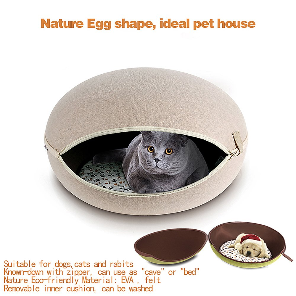 CocoGo® Nature Egg Shape Cozy Felted Caves for Cat Small Dog (Grey) by CocoGo (Image #3)