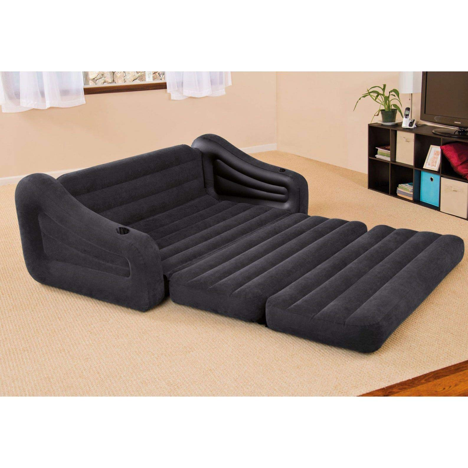 Intex 68566EP Inflatable Queen Size Pull Out Futon Sofa Couch Bed, Dark Gray by Unknown