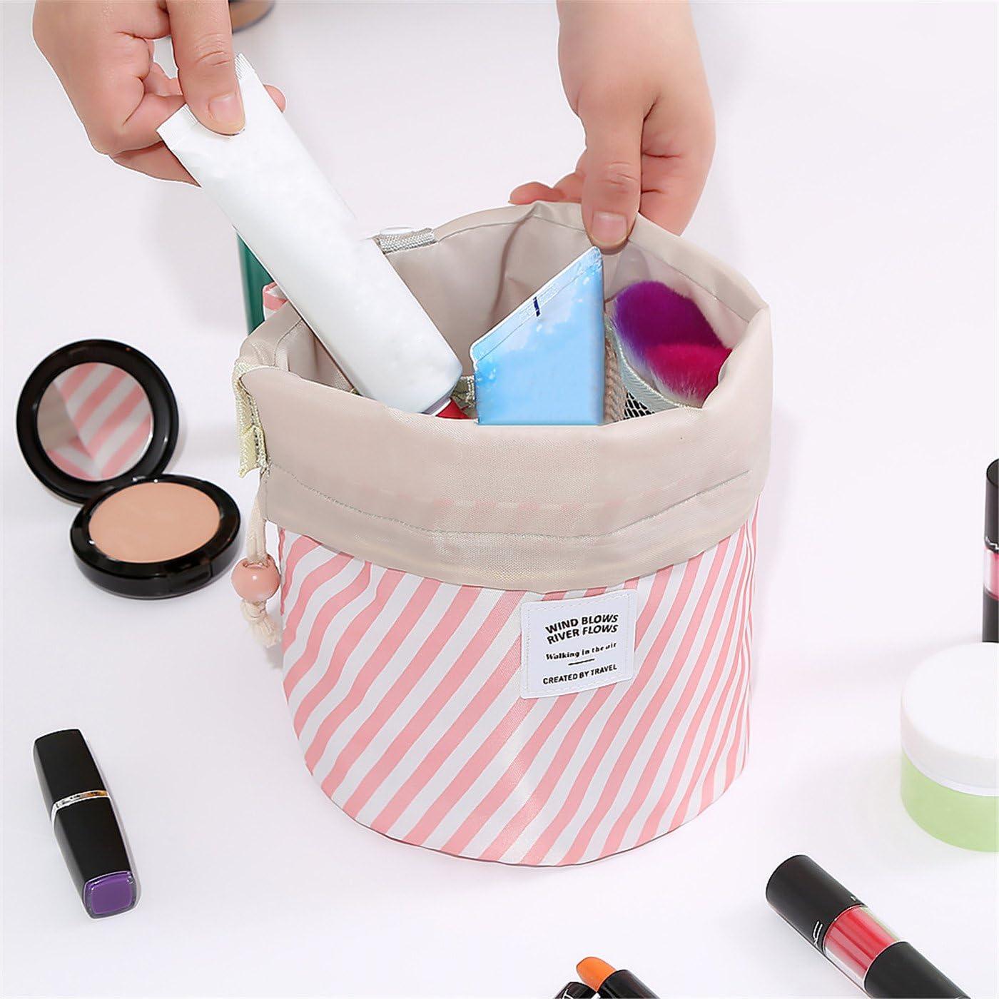 GerTong Trousse de Maquillage cylindrique en Tissu Oxford Vert 16 * 23CM Pochette de Rangement Blanc