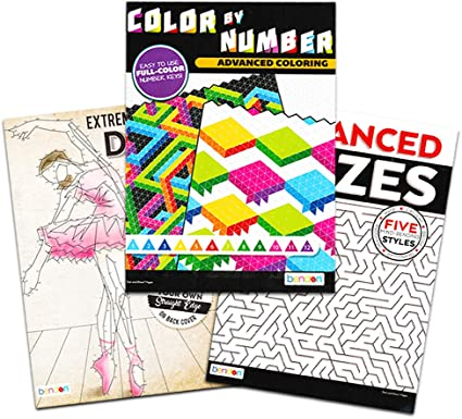 Amazon.com: Advanced Adult Coloring Books For Relaxation Set -- Expert Color  By Numbers Coloring Books For Adults Relaxation: Toys & Games