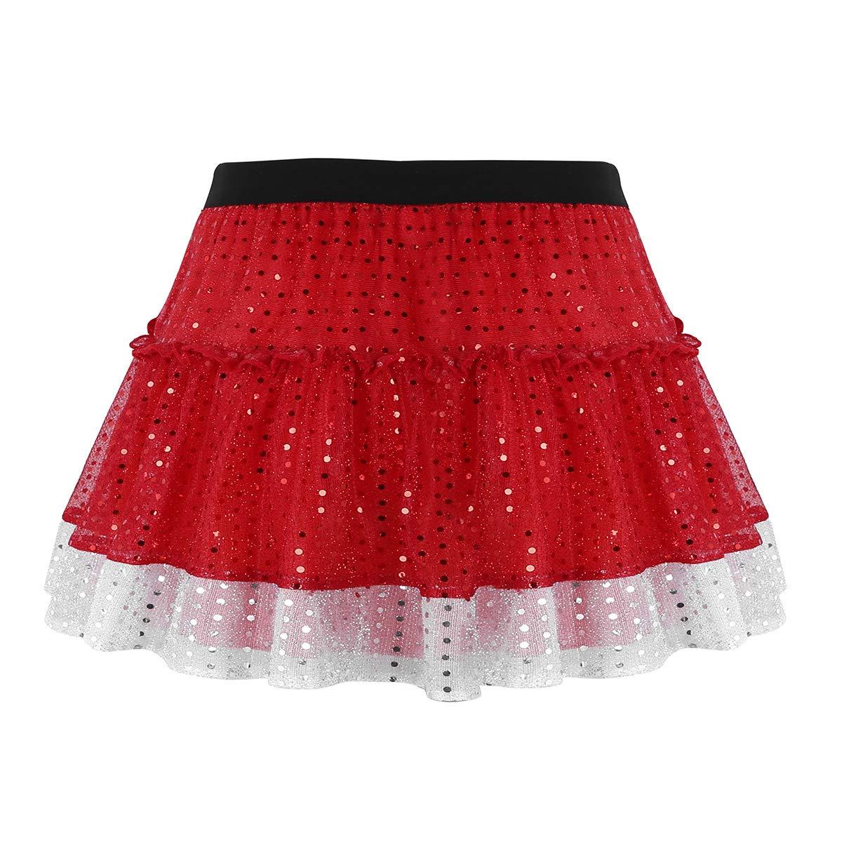 5873d42f885 dPois Femme Fille Jupe Paillette Courte Costume Noël Cosplay Princesse Robe  de Danse à Paillettes Justaucorps de Ballet ...