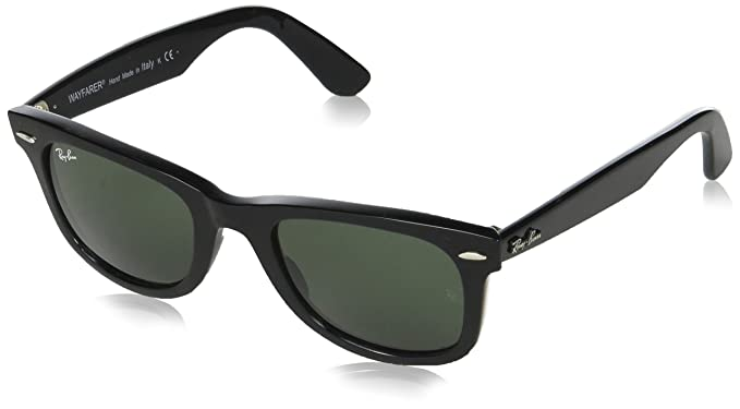 c53305f0a3 Amazon.com  Ray-Ban WAYFARER - BLACK Frame CRYSTAL GREEN Lenses 50mm ...