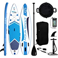 AQUA SPIRIT iSUP Inflatable Stand up Paddle Board with Backpack, Leash, Paddle, Changing Mat & Waterproof Phone Case