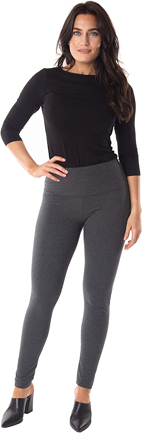 Intro Tummy Control High Waist Legging Pull-On Cotton Spandx Legging Heather Grey Size Medium