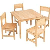 """KidKraft 21421 Farmhouse Table & 4 Chair Set- Natural, Natural, 23.6"""" L x 23.6"""" W x 18"""" H"""