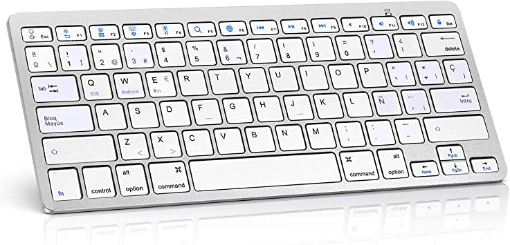 Teclado inalámbrico portátil Ultrafino Adecuado para tabletas, Teclado Bluetooth inalámbrico Universal con Teclas de Respuesta rápida para iPad Mini, ...