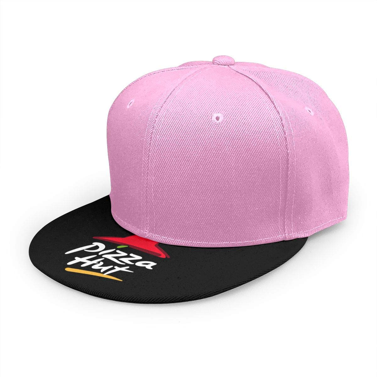 Adjustable Women Men Pizza-Hut-Logo Print Baseball Cap Flat Brim Cap Hats Hip Hop Snapback Sun Hat Boys Girls Pink by Apolonia