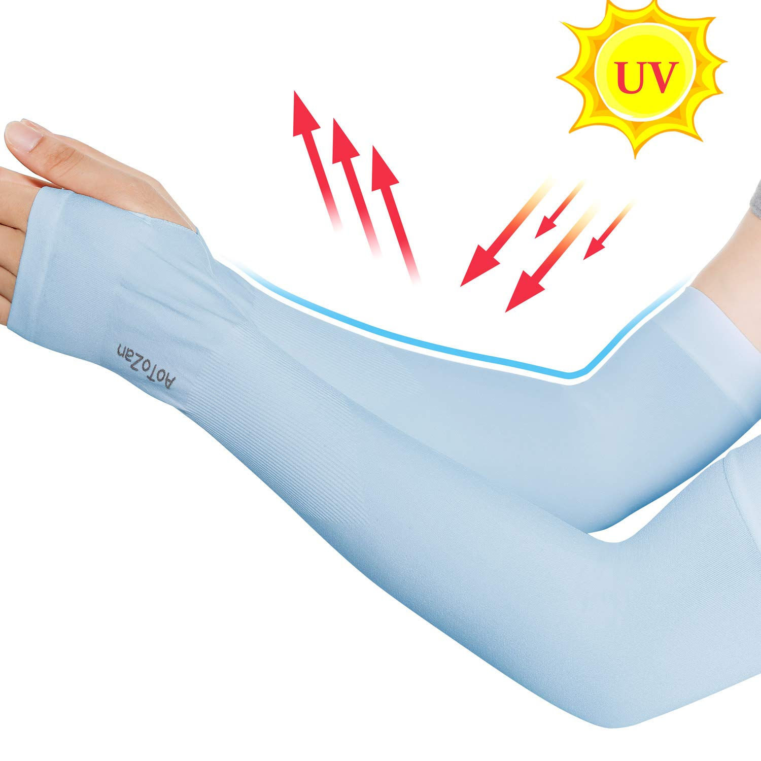 Compression Cooling Sun UV Protection Arm Sleeves Cover Warmers for Men Women