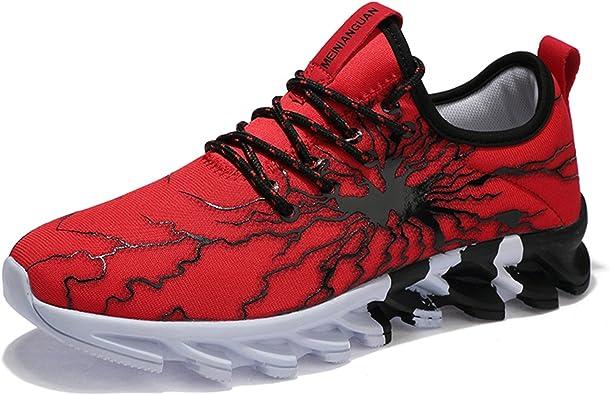 LSGEGO - Zapatillas de Running de Caucho para Hombre, Color Rojo, Talla 42 EU: Amazon.es: Zapatos y complementos