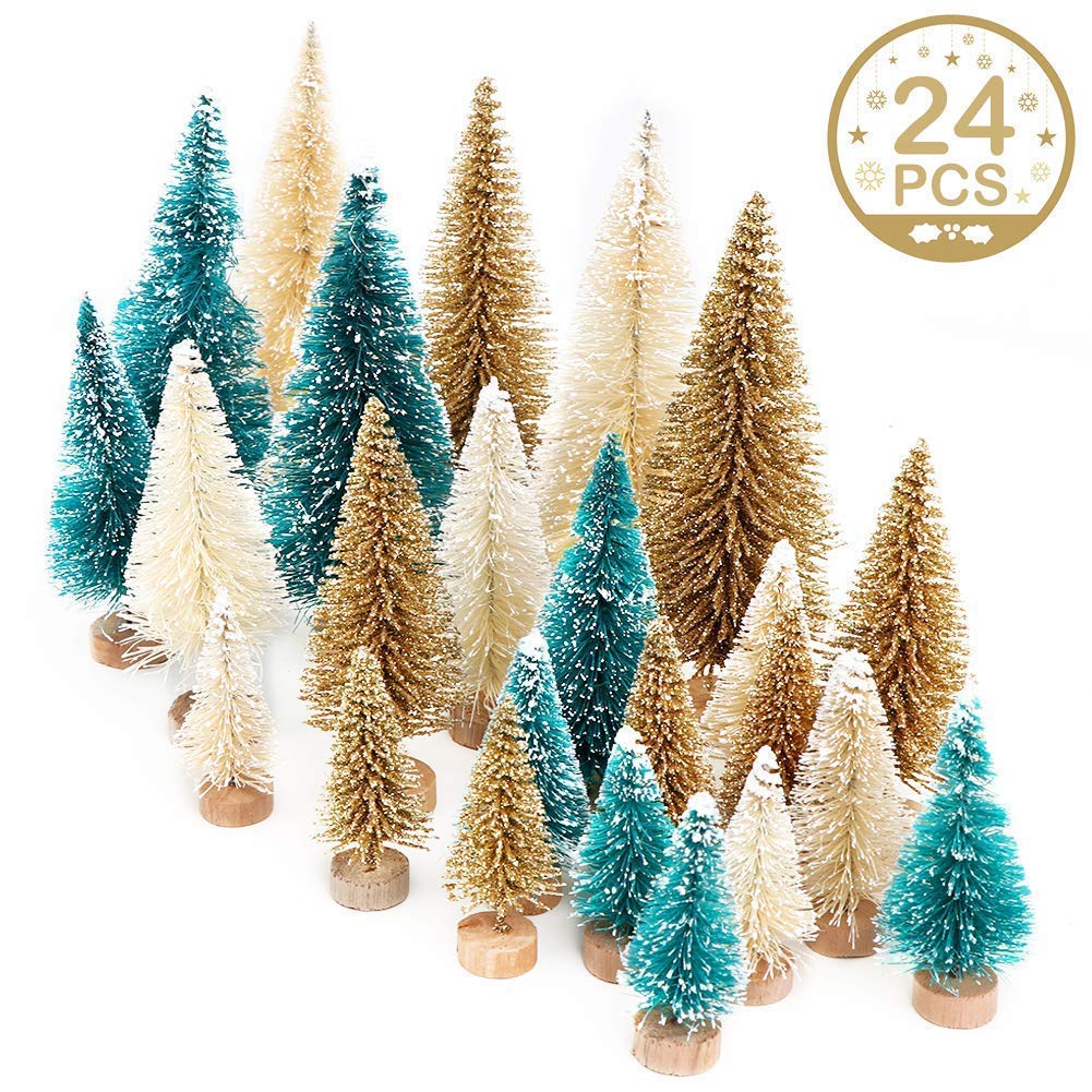 Set of 24 vintage mini artificial bottle brush vintage style Christmas trees