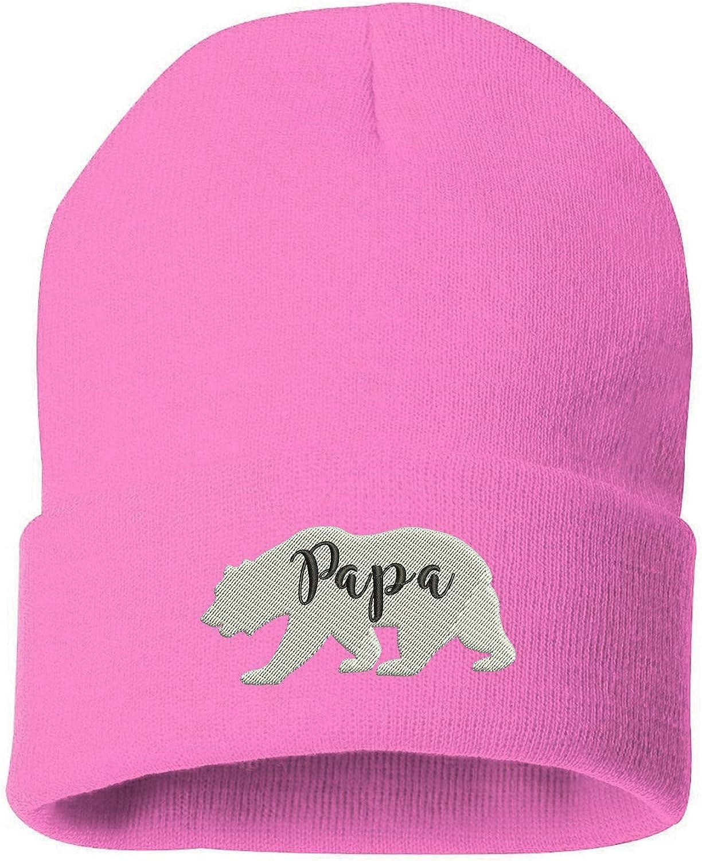 Unisex Papa Bear Beanie Hat Winter Warm Knit Skull Hat Cap