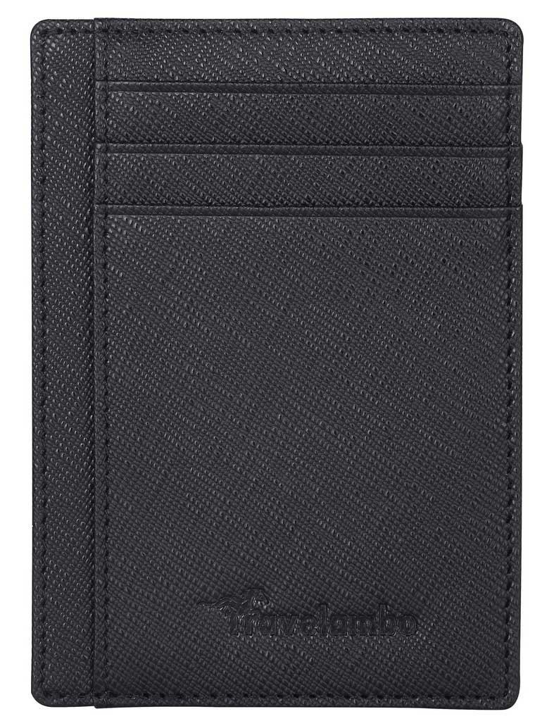 Travelambo Front Pocket Minimalist Leather Slim Wallet RFID Blocking Medium Size(crosshatch black) by Travelambo (Image #3)