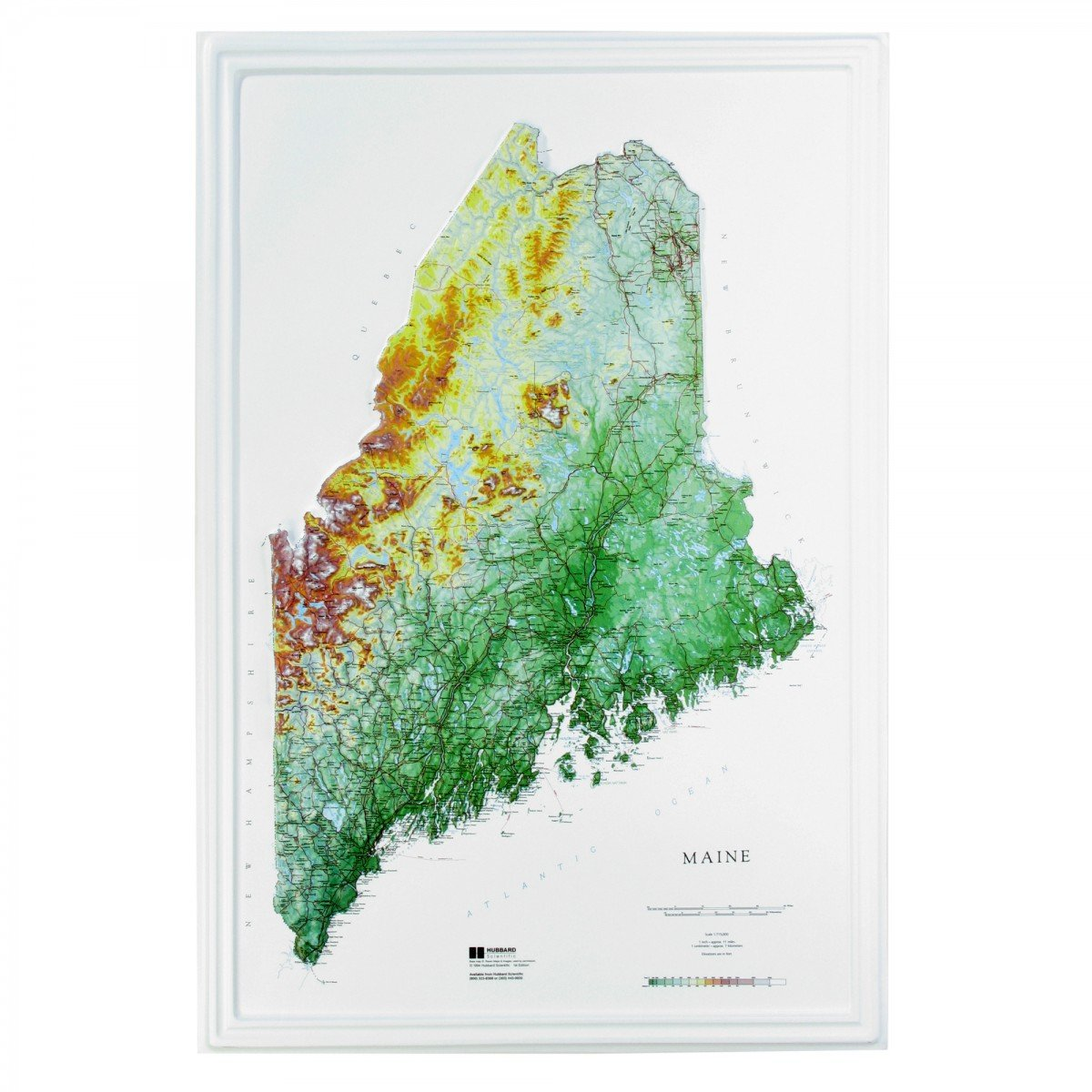 Hubbard Scientific Raised Relief Map 955 Maine State Map by American Educational Products