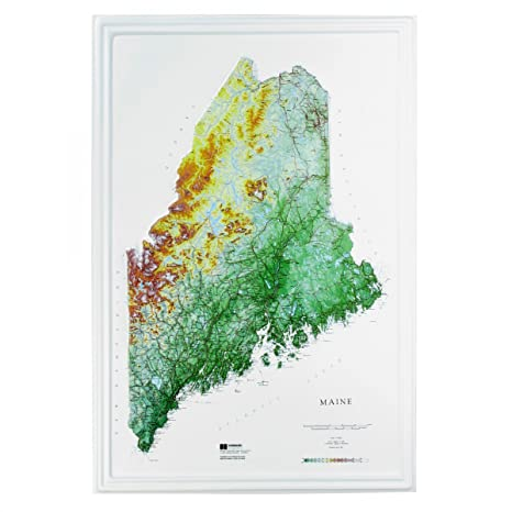 State Map Of Maine.Amazon Com Hubbard Scientific Raised Relief Map 955 Maine State