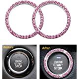 2pcs Crystal Rhinestone Ring for Car Interior Decoration, Auto Engine Start Stop Decoration Crystal Ring Decal for…