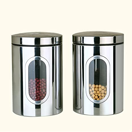 Window Kitchen Canister Flour Sugar Food Tea Coffee Storage Containers Stainless Steel 2 Silver