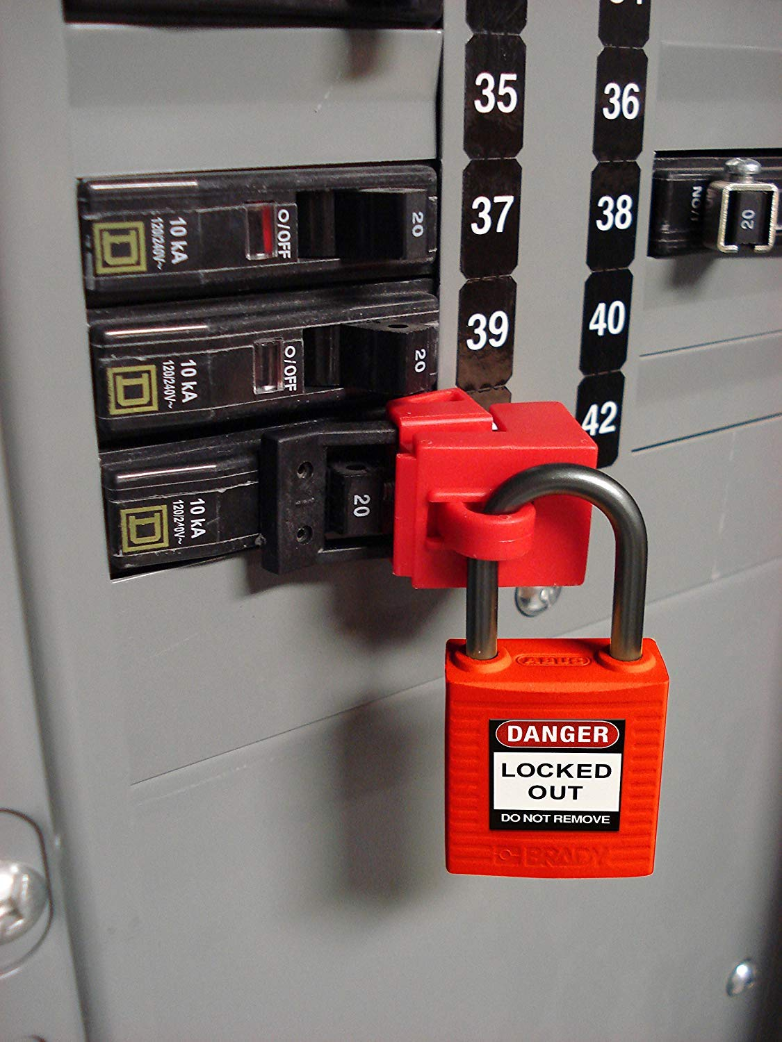 Brady Compact Lockout Tagout Padlock Personal Safety Kit - 123143 - Red (Fоur Расk)
