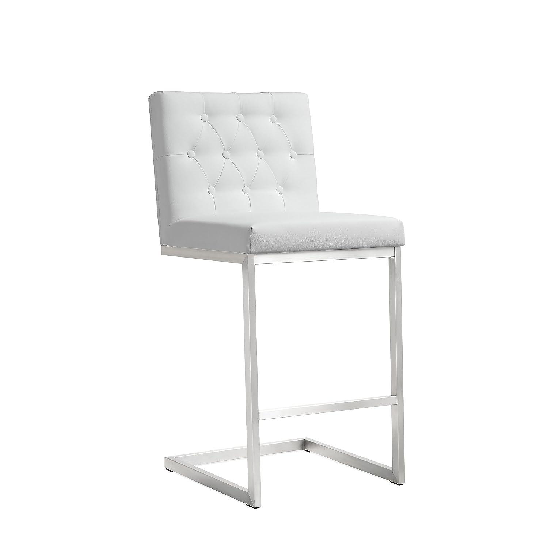 Tov Furniture Helsinki Stainless Steel Counter Stool (Set of 2), White