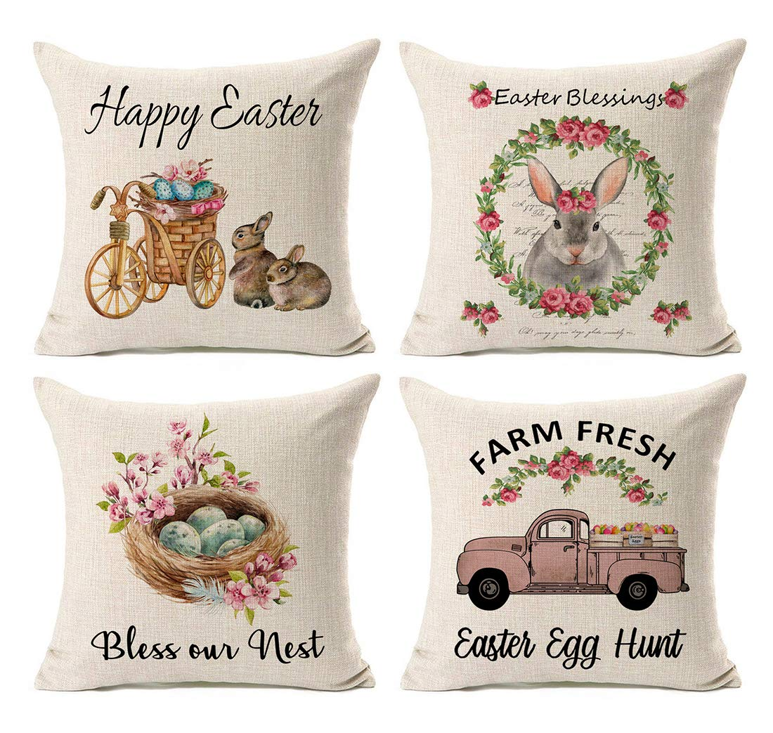 Easter Pillow Cover 18x18 Inch Spring Decorations Rabbit Eggs Throw Cushion Case